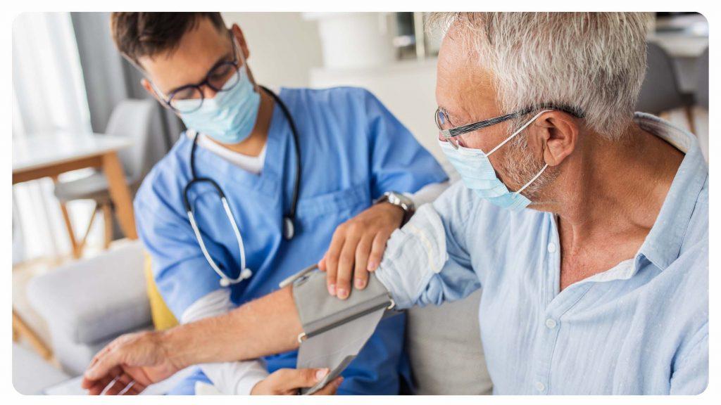 Medical Professional taking blood pressurer